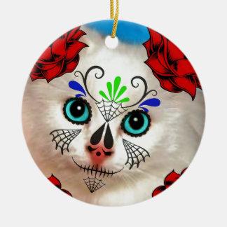 SUGAR SKULL DAY OF THE DEAD CAT KITTY CERAMIC ORNAMENT
