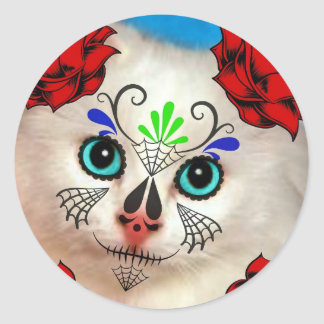 SUGAR SKULL DAY OF THE DEAD CAT KITTY CLASSIC ROUND STICKER