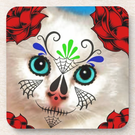 SUGAR SKULL DAY OF THE DEAD CAT KITTY COASTERS