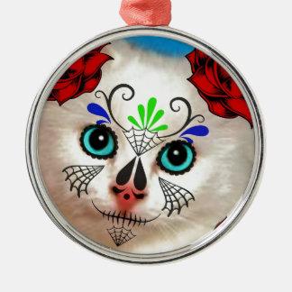 SUGAR SKULL DAY OF THE DEAD CAT KITTY METAL ORNAMENT