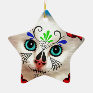 SUGAR SKULL DAY OF THE DEAD CAT KITTY CHRISTMAS TREE ORNAMENTS