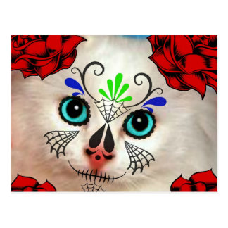 SUGAR SKULL DAY OF THE DEAD CAT KITTY POSTCARD