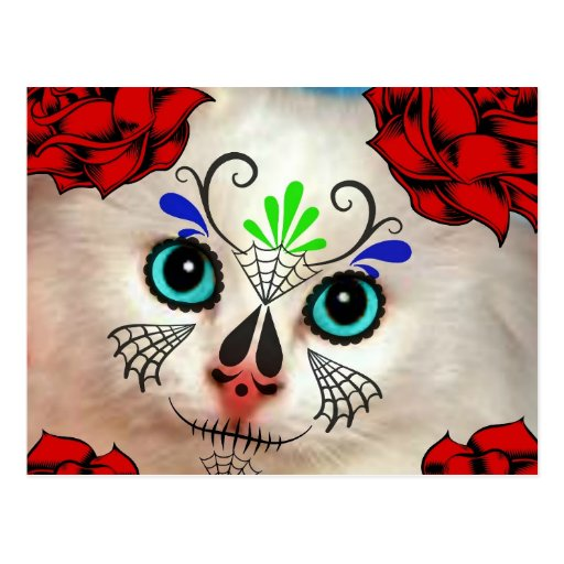 SUGAR SKULL DAY OF THE DEAD CAT KITTY POSTCARD