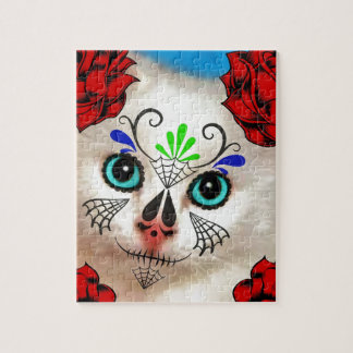 SUGAR SKULL DAY OF THE DEAD CAT KITTY PUZZLE