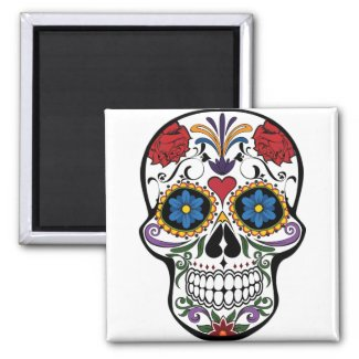 Sugar Skull Day of the Dead Fun Colorful Magnet