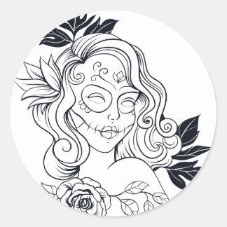 Sugar Skull Day Of The Dead Girl CALAVEREAR Classic Round Sticker