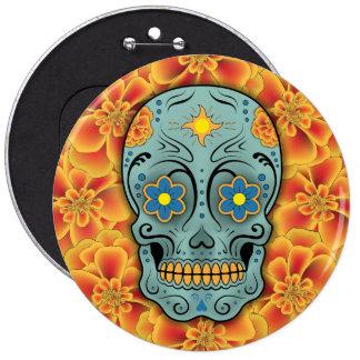 Sugar Skull - Day of the Dead (Marigold) Pinback Button