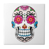 Sugar Skull - Day of the Dead, Tattoo, Mexico Ceramic Tile