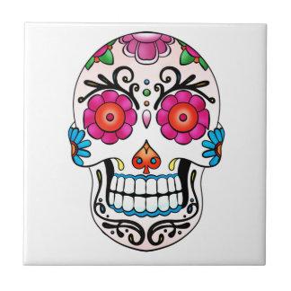 Sugar Skull - Day of the Dead, Tattoo, Mexico Ceramic Tile