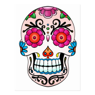 Sugar Skull - Day of the Dead, Tattoo, Mexico Postcard