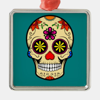 Sugar Skull Day of the Dead Teal Metal Ornament