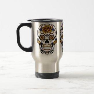 Sugar Skull Day of the Dead Trendy Colorful Fun Travel Mug