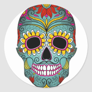 Sugar Skull Day of the Dead with floral ornaments Classic Round Sticker