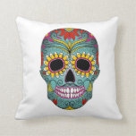 Sugar Skull Day of the Dead with floral ornaments Pillow