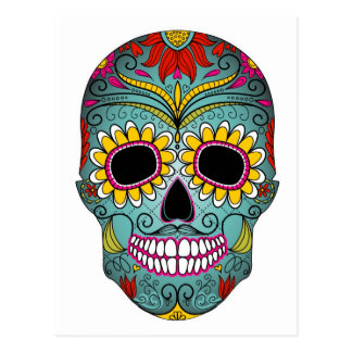 Sugar Skull Day of the Dead with floral ornaments Post Cards