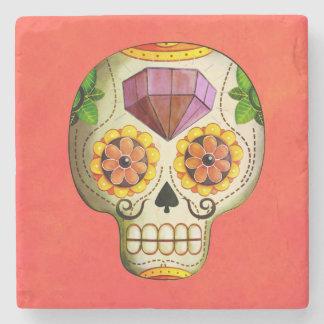 Sugar Skull de Los Muertos Stone Coaster
