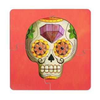 Sugar Skull de Los Muertos Puzzle Coaster