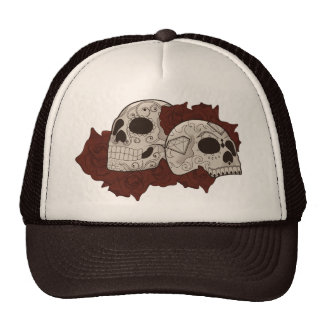 Sugar Skull Design with Roses Mesh Hats