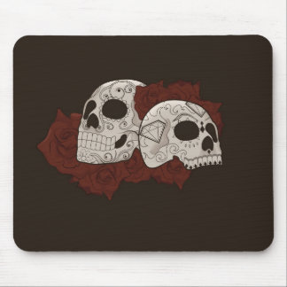 Sugar Skull Design with Roses Mouse Pad