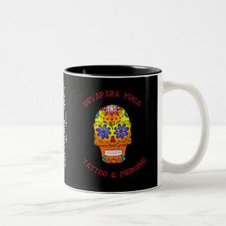 sugar skull deva, dy, dolch rose 1 knows Two-Tone coffee mug