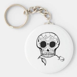 Sugar Skull Día de los Muertos Basic Round Button Keychain