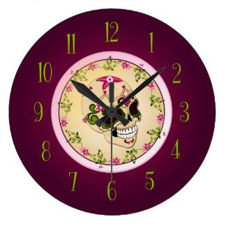 Sugar Skull [Día de Muertos] Large Clock