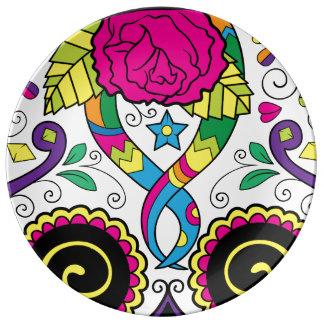 Sugar Skull Dia Des Los Muertos Styled Plate Porcelain Plates