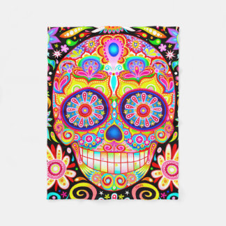 Sugar Skull Fleece Blanket