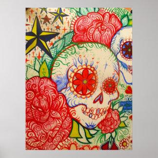 sugar skull flower day of the dead poster art