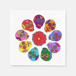 Sugar Skull Flower Disposable Napkins