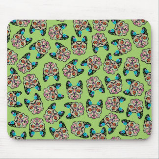 Sugar Skull Frenchie - Green Mouse Pad