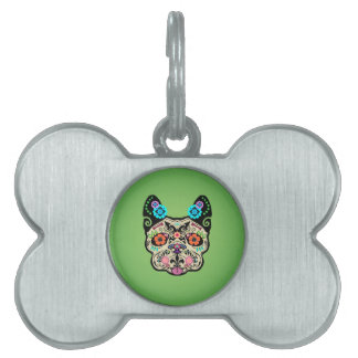 Sugar Skull Frenchie - Green Pet ID Tag