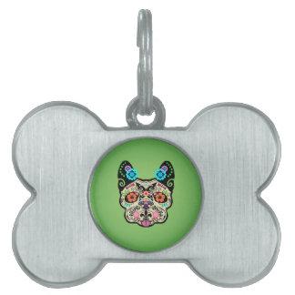 Sugar Skull Frenchie - Green Pet Tags