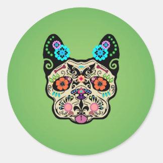 Sugar Skull Frenchie - Green Round Stickers