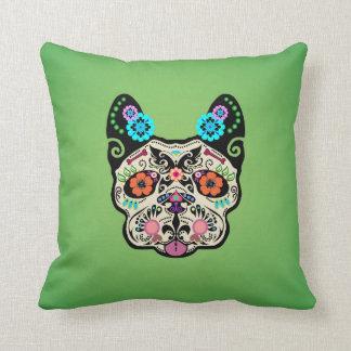 Sugar Skull Frenchie - Green Throw Pillow