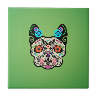 Sugar Skull Frenchie - Green Ceramic Tiles