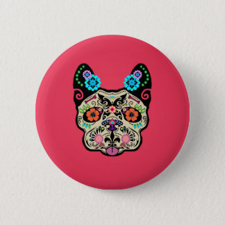 Sugar Skull Frenchie - Pink Button