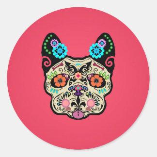 Sugar Skull Frenchie - Pink Classic Round Sticker