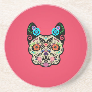 Sugar Skull Frenchie - Pink Coaster