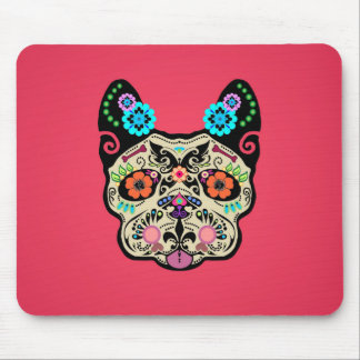 Sugar Skull Frenchie - Pink Mouse Pad