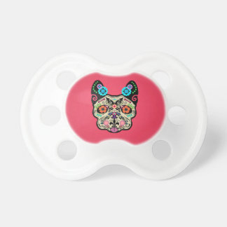 Sugar Skull Frenchie - Pink Baby Pacifiers