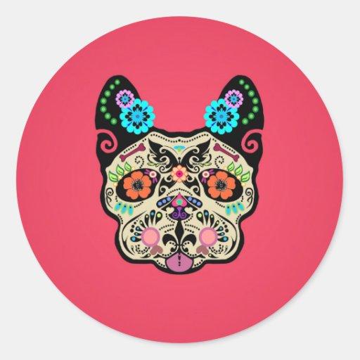 Sugar Skull Frenchie - Pink Round Stickers