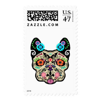 Sugar Skull Frenchie Postage Stamp
