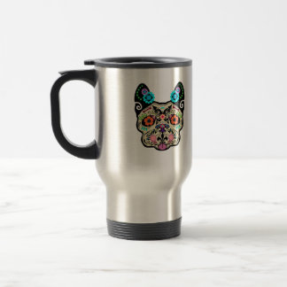 Sugar Skull Frenchie Travel Mug