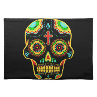 Sugar skull full color cloth placemat