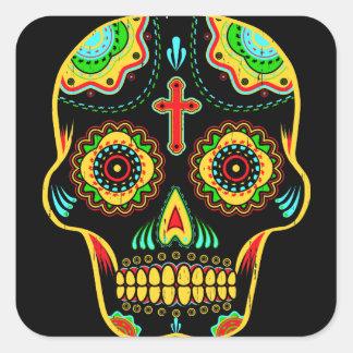 Sugar skull full color square sticker