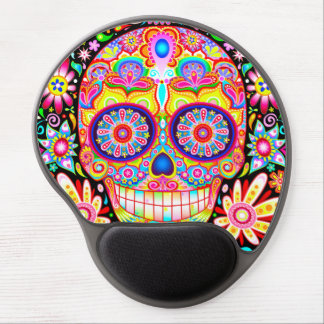 Sugar Skull Gel Mousepad - Colorful Groovy Art