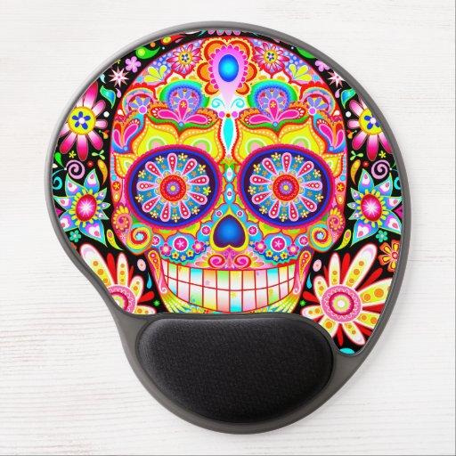 Sugar Skull Gel Mousepad - Colorful Groovy Art Gel Mousepads