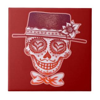 Sugar Skull Gentleman Ceramic Tile
