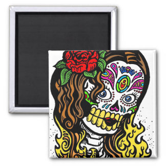 Sugar Skull Girl 2 Inch Square Magnet